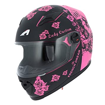 Astone Helmets gt2g-ladyc-bpm casco Moto Integral GT Lady Custom, Negro/