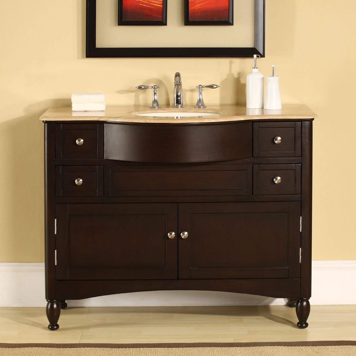 Silkroad Exclusive HYP-0717-T-UIC-45 Single Sink Bathroom Vanity with Dark Walnut Finish Bath Cabinet, 45 , Dark Wood