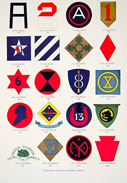 1919 Color Print United States Army Insignias Big Red One Military