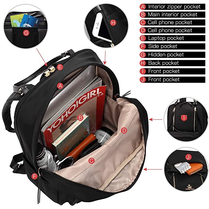 4f832ed4b1a7 Wolfrealm Laptop Backpack for Women Lightweight School Bag Ladies  Water-Repellent Business Backpack Purse 14