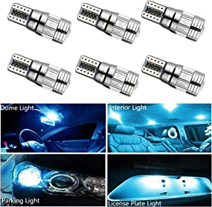 HOCOLO 6x T10 198 194 168 912 921 W5W 2825 Ice Blue Color 8000K Color High Power LED Bulbs For Interior Dome/Map/License Plate/Parking/Door/Trunk Lights (6pcs T10 6-SMD Canbus Error Free, Ice Blue)