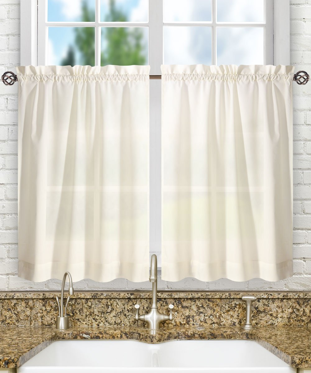"Ellis Curtain Stacey 56-by-45"" Tailored Tier Pair Curtains, Ice Cream"