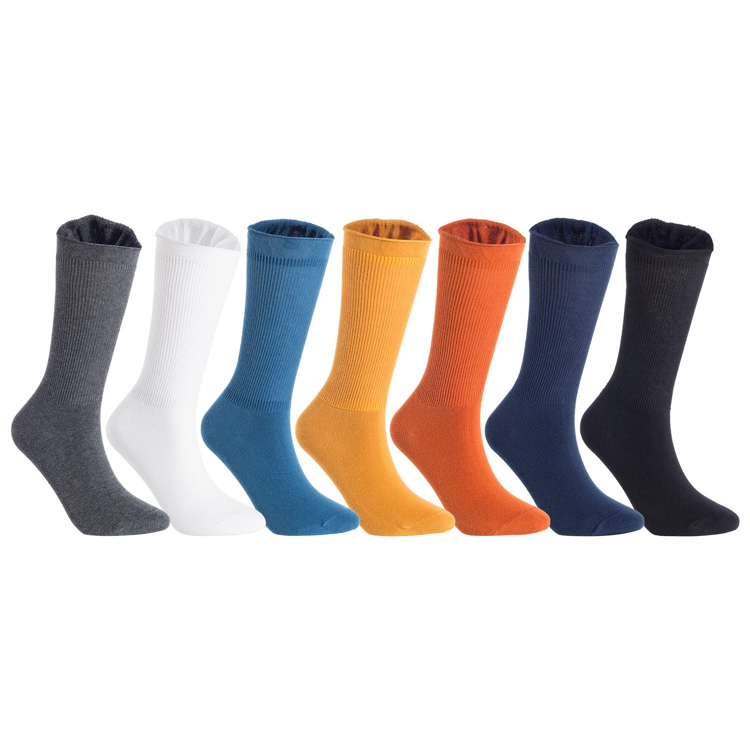 Lian LifeStyle Big Girl's 6 Pairs Cotton Blend High Crew Socks Solid HR1791 Casual Size L/XL 6 Colors