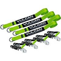 Vulcan Brands HI-VIZ Exotic Car Tie-Down Kit w/Snap Hooks (2'' x 12' - Pack of 4)