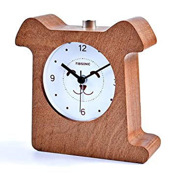 Fibisonic Réveil Analogique Petit Réveil Bois Horloge De Table