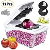 Collupsa Onion Chopper Pro Mandoline Slicer Dicer 13 in 1 Adjustable Food Cutter,Cheese Grater Heavy Duty Multi-Veggie-Fruit-Spiralizer Zoodle Maker Best Kitchen Gadget and Gifts