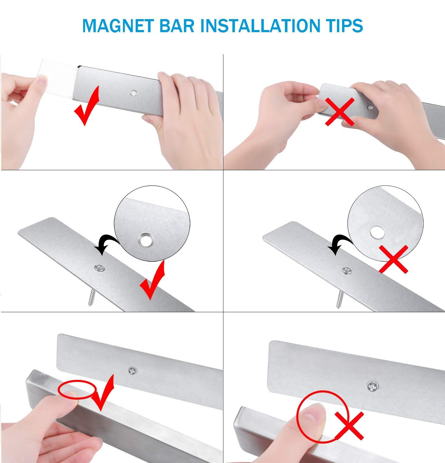 NUNET 16 Inch Stainless Steel Magnetic Knife Bar 4 Hanger Hooks with Adhesive Pad Strong Magnet as Knife Rack/Strip, Kitchen Utensil Hanger, Garage Tool Holder & Home Organizer by NUNET (Image #4)