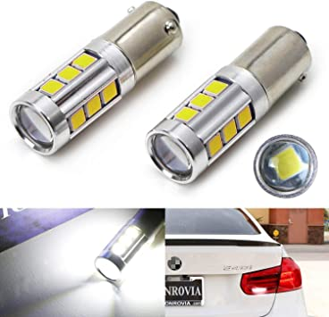 Xenon White iJDMTOY Super Bright 10W 15-SMD P21W 7506 LED Replacement Bulbs For Audi BMW Mercedes Volkswagen Backup Reverse Lights