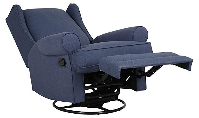Cool Ravenna Home Manning Swivel Base Recliner 34 6W Blue Gmtry Best Dining Table And Chair Ideas Images Gmtryco