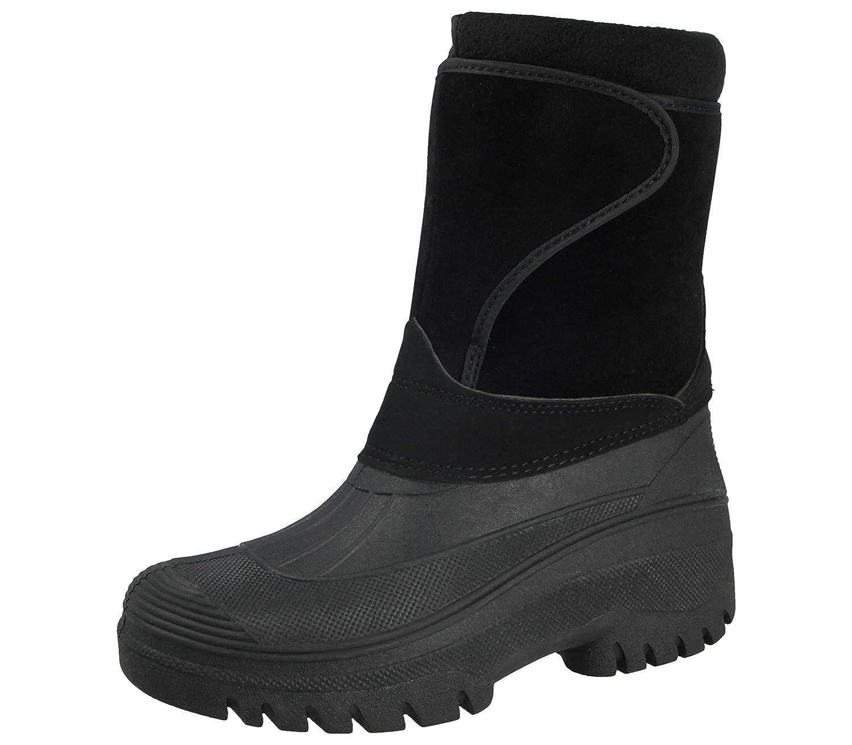 Negro para hombre LS89equitación patio estable impermeable senderismo lluvia nieve invierno Wellington de esquí cálido Farm Mucker–Botas