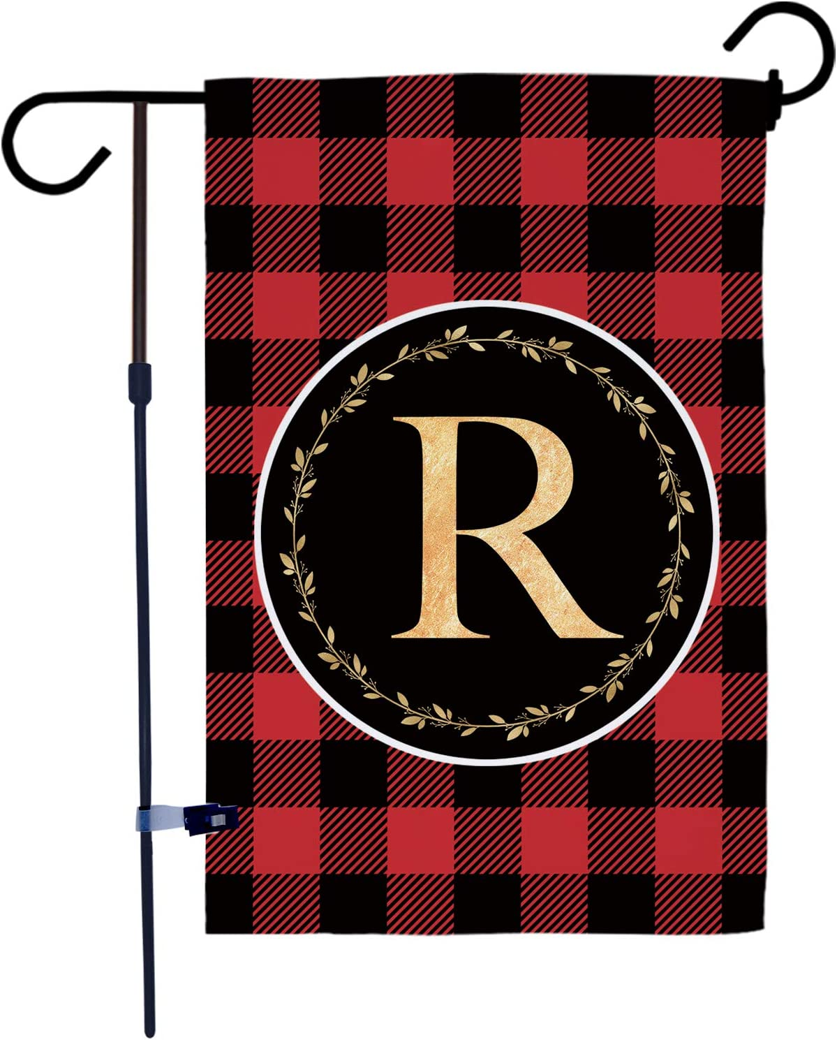 AKPOWER Small Garden Flag Black and Red Plaid Check Vertical Double Sided Farmhouse Burlap Yard Outdoor Decor Classic Monogram Letter 12.5 x 18 Inch R