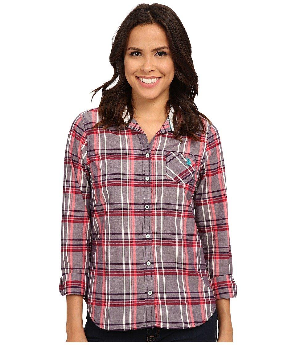 U.S. Polo Assn.. Juniors' Long Sleeve Plaid Poplin Woven Shirt, 3383-Blackberry Cordial, L
