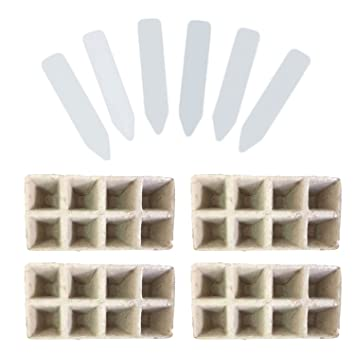 10 PCS 8 ranuras Siamesed semillas biodegradables Starter Pots Germination Seedling Bandejas + 50 PCS White