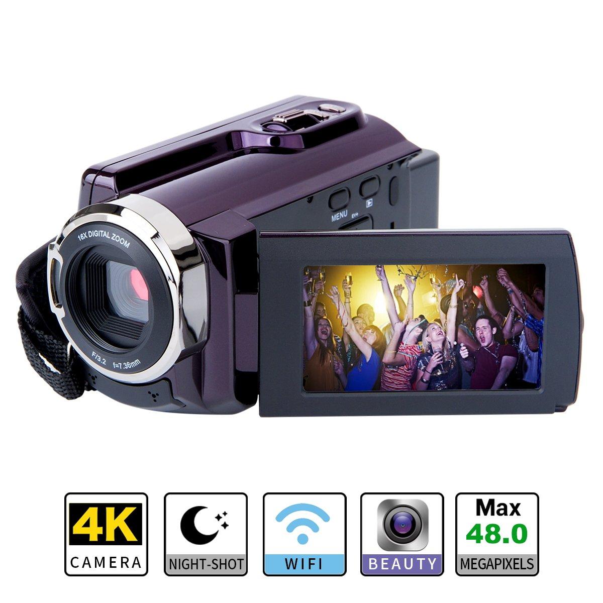4K Camcorder WIFI Camera Kimire Ultra HD Digital Camera 48.0MP Video Recorder 3.0 Inch 270 Degree Rotation Capacitive Touch Screen Night Vision 16X Digital Zoom Camcorder(HDV-534K)