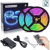 10M RGB LED Strip, Tiray Ledy IP65 Vattentät Flerfärgad LED Strips av LED-lampor 5050 300 Leds Komplett kit för hem…
