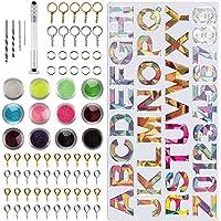 PUDSIRN Hars Alfabet Mould, 78 Stks Epoxy Siliconen Letter & Nummer Mould Kit DIY Casting Resin Mold voor het maken van…