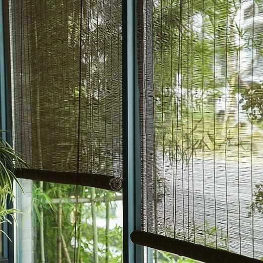 FF Estores enrollables Persianas enrollables externas para Exteriores con Accesorios, Cortinas oscuras de Madera con protección Solar para garajes de Patio con pérgola, 70/90/110/130/140 cm de Ancho: Amazon.es: Hogar