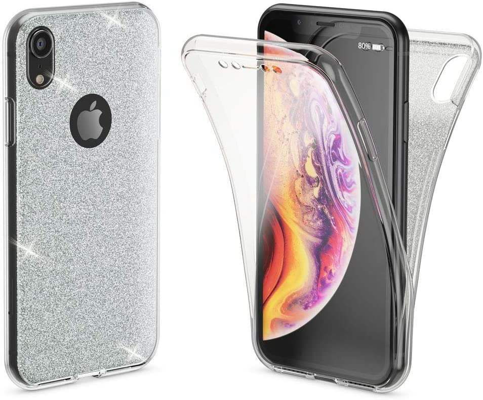 NALIA 360° Glitter Case Compatible with iPhone XR, Full-Body Shiny Soft Protective Smart-Phone Cover Ultra-Thin Front & Back Silicone Gel Protection Slim-Fit Shockproof Bumper Etui, Color:Transparent