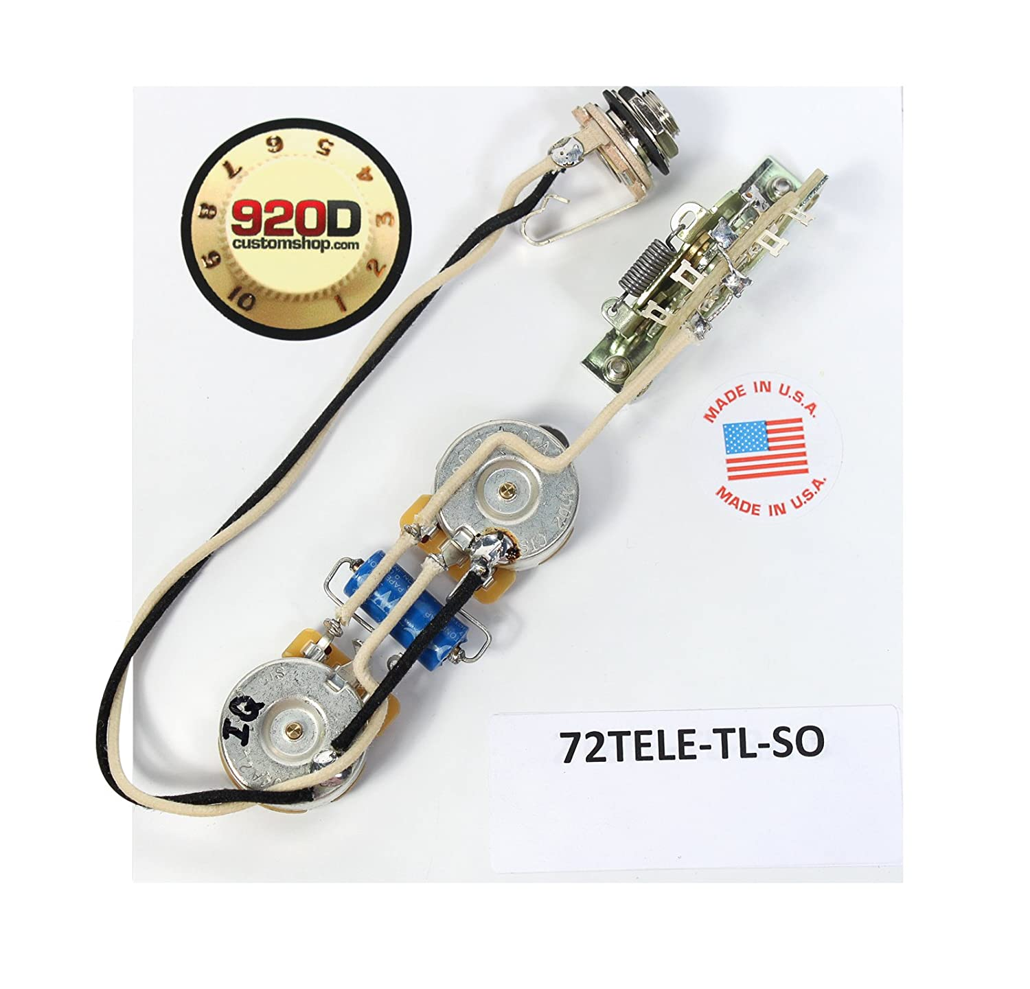 Amazon.com: Fender '72 Thinline Tele Telecaster Wiring Harness Solid Shaft  - 500K - PIO Cap: Musical Instruments