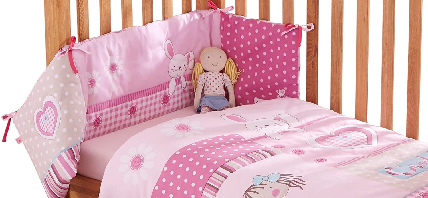 Clair de Lune My Dolly Pink Cot/Cot Bed Quilt and Bumper Bedding Set CL4888