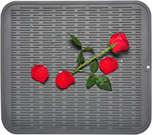 """Silicone Drying Mats for Kitchen, Large Grey Dish Drying Mat – Heat Resistant Counter Mat, 18"""" x 16"""" Dishwasher Safe Rubber Kitchen Drying Mat by Kindga"""