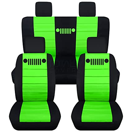 Awesome 2007 2010 Jeep Wrangler Jk Seat Covers Black Lime Green Full Set Front Rear 23 Colors 2008 2009 2 Door 4 Door Complete Back Solid Split Gamerscity Chair Design For Home Gamerscityorg