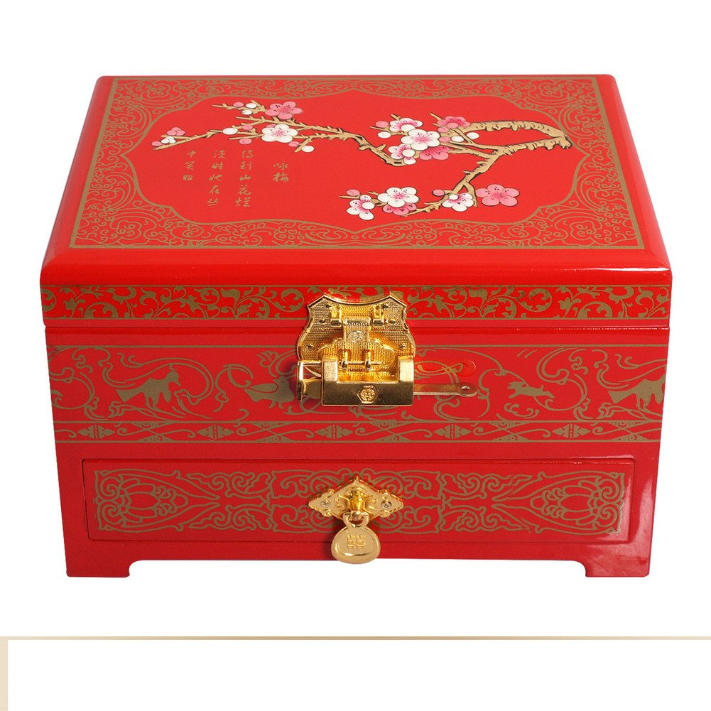 vintage jewelry box/Double lacquer Chinese without locking storage box/ storage jewelry box/ wedding gifts-B by AOQLDJA