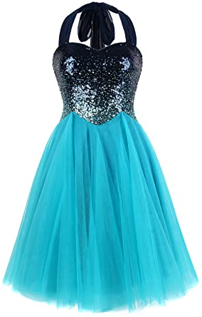 Angel-fashions Womens Gradient Sequin Splicing Halter Prom Dresses (S, Sky Blue)