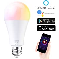 EXTSUD Lampadina Intelligente 10W E27 RGB Dimmerabile WiFi Smart Led Bulbo Lampadina Compatibile con Amazon Alexa Echo Controllo a Distanza da App Smartphone iOS&Android Equivalente a 60W