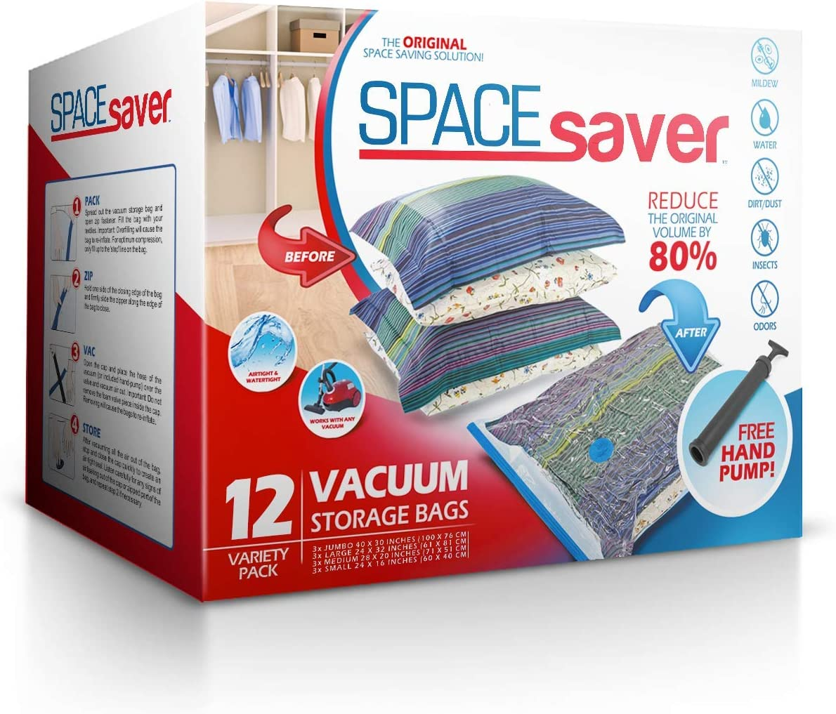 Spacesaver Premium Vacuum Storage Bags (3 x Small, 3 x Medium, 3 x Large, 3 x Jumbo) (80% More Storage Than Leading Brands) Free Hand Pump for Travel! (Variety 12 Pack): Home & Kitchen