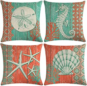 "7COLORROOM Sea Theme Throw Pillow Cover Navigation&Beach Style with Seahorse& Starfish &Shell Cushion Cover Set of 4 Nautical & Coastal Decorative Square Cotton Linen Pillowcases 18""×18"" (Ocean Park)"