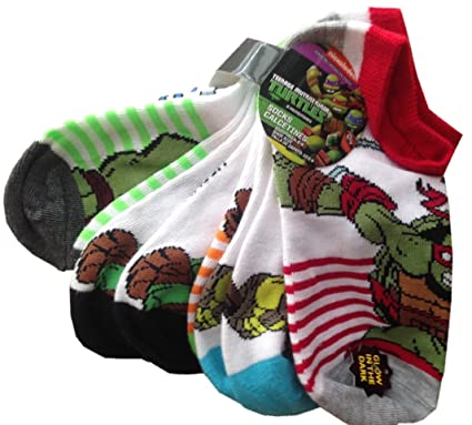 TEENAGE MUTANT NINJA TURTLES - 6 Pack Of Licensed Glow In The Dark Kids Socks -