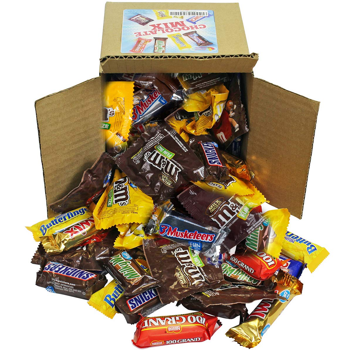 Chocolate Variety Pack - Fun Size Candy - All Your Favorite Chocolate Bars Including M&M, Snickers, Twix and More In 6x6x6 Bulk Box, 3.2 LB by A Great Surprise