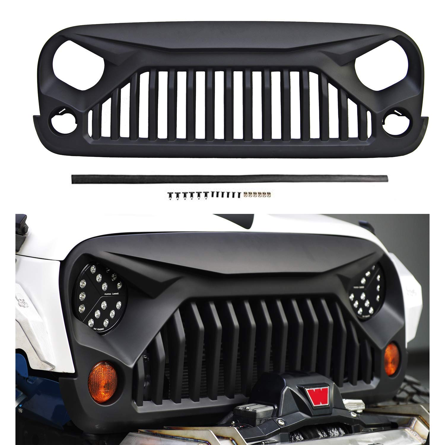 Front Matte Grill for J-eep Wrangler JK/JKU 07-18, Including Rubicon, Sahara and Sport,2/4Door