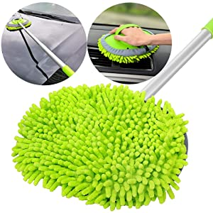 "GreatCool 2 in 1 Chenille Microfiber Car Wash Mop Mitt with 44.5"" Aluminum Alloy Long Handle,Brush Duster Not Hurt Paint Scratch Free Cleaning Tool Dust Collector Supplies for Washing Car,Truck, RV"