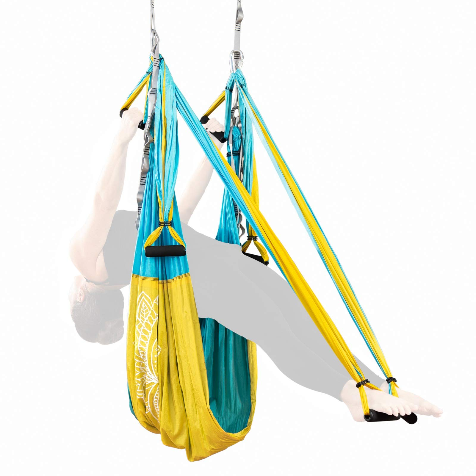 Adult Yoga Trapeze Swing Kit - Hanging Aerial Yoga Equipment System for Body Inversion, Flexibility and Exercise - Parachute Fabric Hammock Sling with Rubber Grip Handles & Carabiners - Hammock Strap