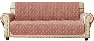 "Ameritex Couch Sofa Slipcover 100% Waterproof Nonslip Quilted Furniture Protector Slipcover for Dogs, Children, Pets Sofa Slipcover Machine Washable (Pink, 78"")"