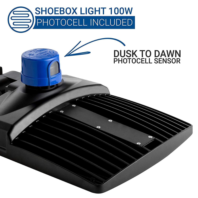 Hyperikon Led Shoebox Pole Light 100w 300w Hid Hps Replacement Wiring A Dusk To Dawn Photocell Sensor 5700k