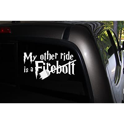 "Decor Vinyl Store My Other Ride is a Firebolt Decal, 7.5"" Wide X 4"" High, for Fans of Harry Potter, White: Automotive"