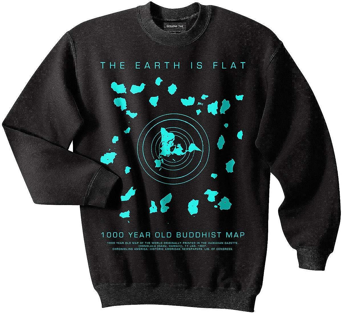 Amazon Com Flat Earth Sweatshirt Buddhist Map Earth Is Flat