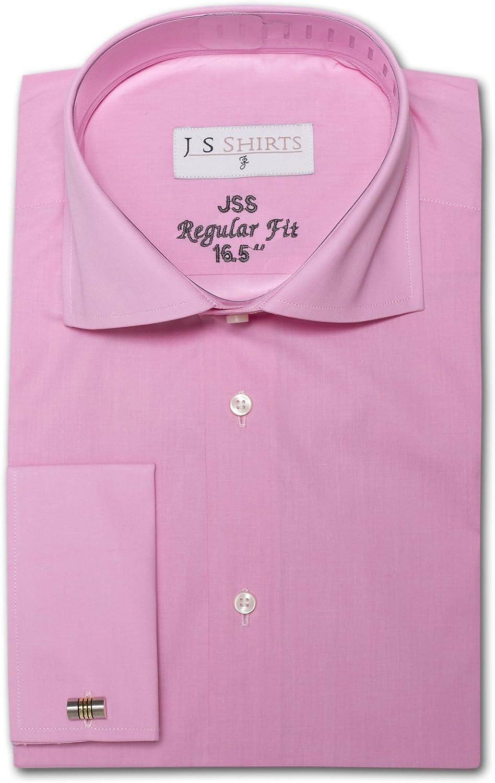 Jenson Samuel Shirts para Hombre 100% algodón Premium Formal Negocios con Cuello Regular Fit Camisa Gemelos de Doble puño
