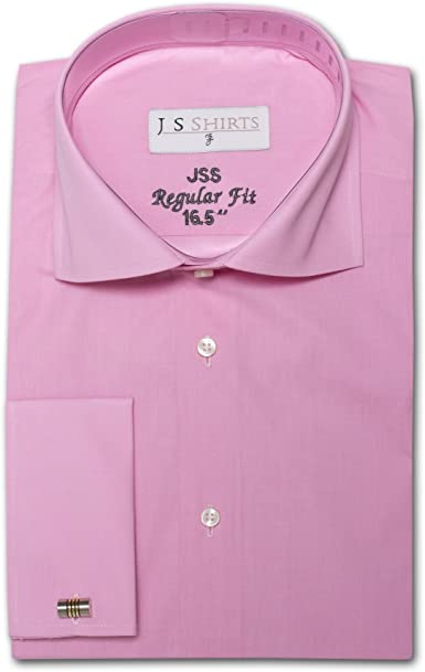 Camisa de vestir de doble puño y con cuello italiano, 100 % algodón prémium, para hombre rosa rosa: Amazon.es: Ropa y accesorios