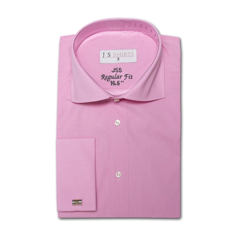 Mens 100% Cotton Premium Formal Business Cutaway Collar Regular Fit Shirt Double Cufflink Cuff