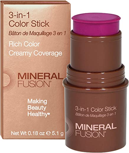 Mineral Fusion 3-in-1 Color Stick, Berry Glow (Packaging May Vary)