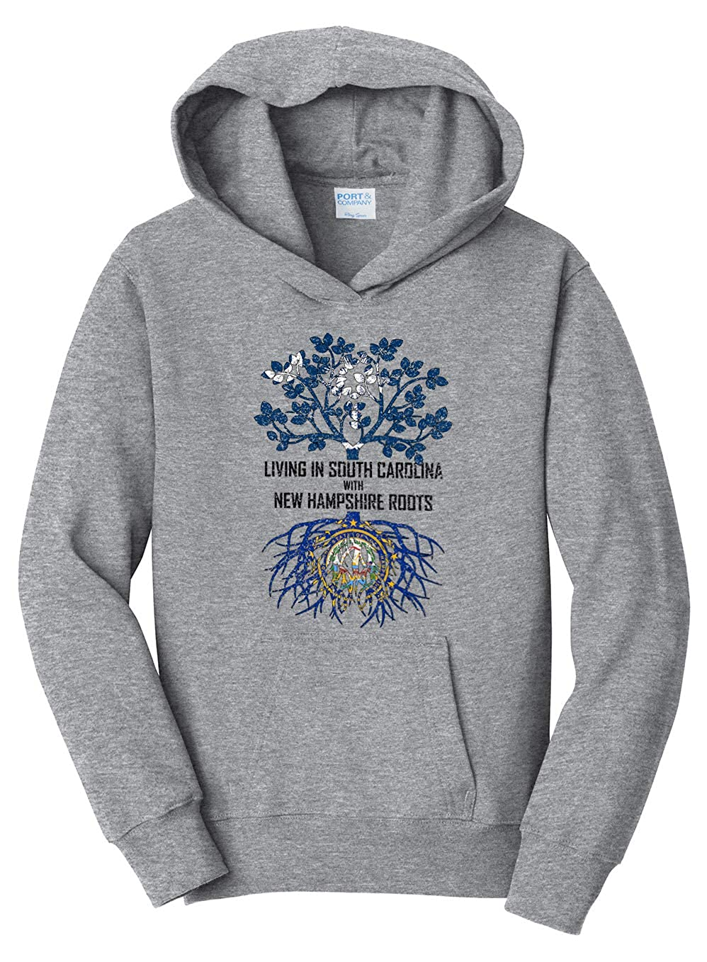 Tenacitee Girls Living in South Carolina with New Hampshire Roots Hooded Sweatshirt