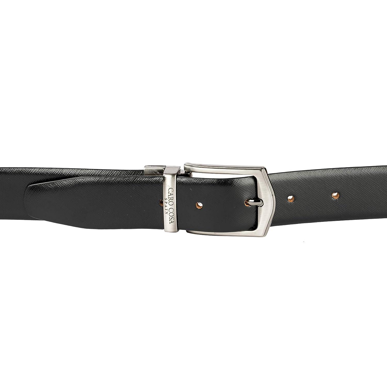 db472ddda CARO COSA Leather Men Brown Black Belt  Amazon.in  Bags