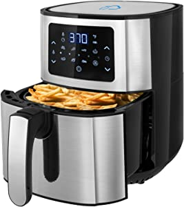Air Fryer, WEXNCIU 6 QT Electric Hot Oven Oilless Cooker LCD Digital Screen and Nonstick Frying Pot with 7 Presets, Preheat& Keep Warm, Appointment & Nonstick (72 Recipes) (6-QT)