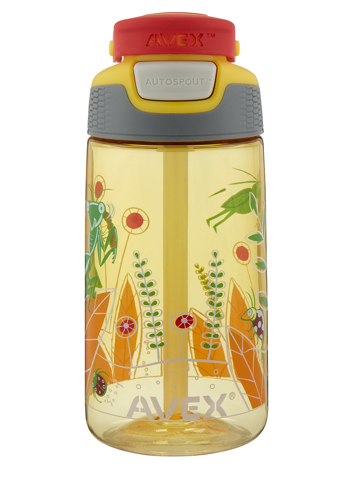 Avex Kids Freestyle Bugs Autospout Water Bottle, Yellow, 16 oz