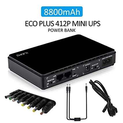 iLEPO Mini UPS Uninterruptable Power Supply System,AC 100V/240V Input  8800mAH DC Power Bank with LED Indicator for Webcam/CCTV Camera/Wrieless  Router