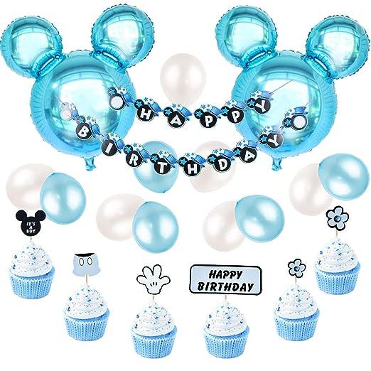 Decoraciones de cumpleaños de Mickey Mouse, azul para niños, pancarta de feliz cumpleaños y Mickey Cupcake Toppers para el primer cumpleaños, Baby ...